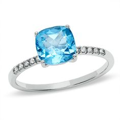 Pretty pretty. Cushion-Cut Swiss Blue Topaz Ring in 10K White Gold with Diamond Accents