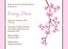 cherry blossom bridal shower invites | Details about Cherry Blossom Bridal Shower Invitations