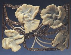 """fawnvelveteen: """" Hawthorn (plaque for a dog-collar necklace), artificial ivory, enamel, gold and diamonds by Lalique . """""""