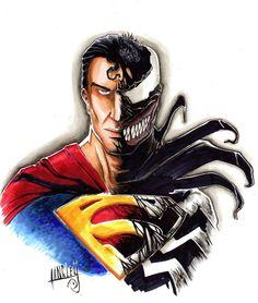 Superman/Venom mashup original art