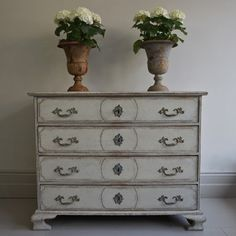 A rare beauty, this imposing Baroque period chest features four richly carved drawers, a faux marble top, and original locks & lift handles. Antique Furniture, Painted Furniture, Amy Howard Paint, French Decor, Baroque, Rococo, Dresser As Nightstand, Marble Top, Chest Of Drawers