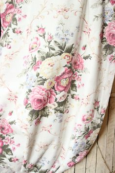 1930s French Scrolled English Cabbage Rose Floral Vintage Pale Pink Linen Fabric Drapery Panels. $138.00, via Etsy.