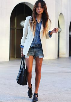 pretaportre:    Julie Sarinana of Sincerely Jules in Denim on Denim wearing a Bella Dahl shirt, Levi's shorts, Lovers & Friends blazer, Senso booties, Jennifer Zeuneer necklace and a Celine bag.