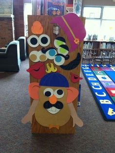 End cap idea (image only) - could laminate paper pieces and use velcro dots. OMG! It's an interactive Mr. Potato Head!