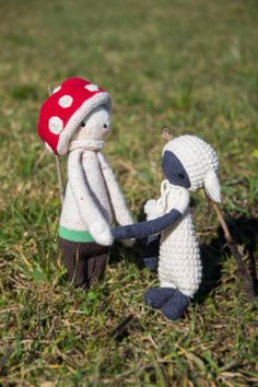 PAUL the toadstool and LUPO the lamb made by Cecilia C. / crochet patterns by lalylala