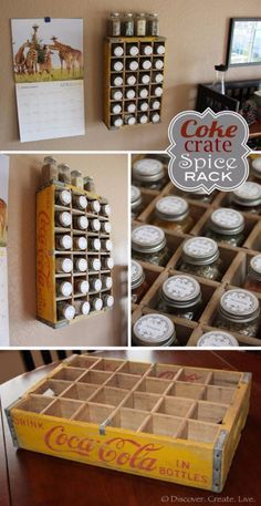 I turned a vintage Coca-Cola bottle crate into a spice rack! And even included some printable spice jar l I turned a vintage Coca-Cola bottle crate into a spice rack! And even included some printable spice jar labels :) Vintage Coca Cola, Spice Jar Labels, Spice Jars, Cool Diy, Fun Diy, Diy Kitchen, Kitchen Decor, Kitchen Ideas, Kitchen Shelves