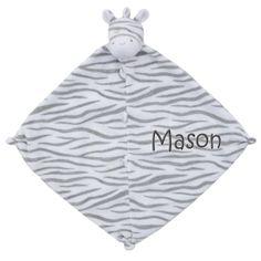 PersonalizeMyBabyBlanket.com - Angel Dear Dark Zebra Animal Baby Security Blankie Blanket - Personalized Embroidery, $20.00 (http://personalizemybabyblanket.com/angel-dear-dark-zebra-animal-baby-security-blankie-blanket-personalized-embroidery/)