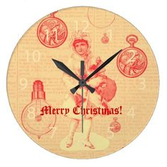Vintage girl with steampunk objects Christmas Large Clock - click/tap to personalize and buy