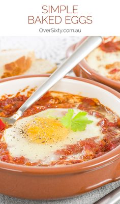Simple Baked Eggs in Chunky Tomato Sauce - this Spanish style ...