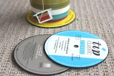 SUPER easy way to make recycled vinyl coasters that are so expensive in stores.