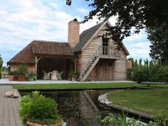 Outdoor Living, Garage With Room Above, Garage To Living Space, Small Log Cabin, Fresco, Belgian Style, Luxury Homes Dream Houses, Home Spa, Gardens