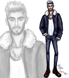 It's LCM so the next few days are all about #Menswear sketches. Here is Zayn Malik rocking a sheepskin jacket inspired by his Billboard mag cover.