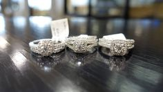 As a bride which one of these three gorgeous halo style rings would you be most excited to receive? Custom Jewelry Design, Custom Design, Jewelry Stores, Halo, Diamonds, Wedding Rings, Engagement Rings, Rock, Bride