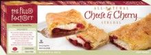 Cheese & #Cherry Strudel (22 oz.) - We use the finest ingredients in our strudels--and it shows! Creamy cheesecake filling and tart red #cherries are wrapped in cake crumb sprinkled layers of crispy fillo dough to make the perfect gourmet #strudel. A light topping of sugar and cinnamon add the finishing touch. All #Natural, #Vegetarian, #Kosher, OU-Dairy, Yeast Free, No Trans-Fat. See nutrition or shop online at http://www.fillofactory.com/desserts.html.