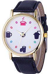 LANDFOX Womens Leather Date Dress Quartz Analog Wrist Watch,Black $3.72 Landfox