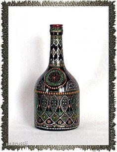 Image result for Работы Юлии Левашовой Bead Bottle, Bottle Art, Bottle Crafts, Bottles And Jars, Glass Bottles, Paint Bottles, Bottle Painting, Dot Painting, Mandela Art