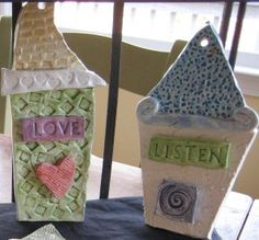 Cute textured house plaques, would be cute to have the kids last names on them