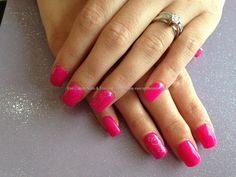 Gel overlays with bright pink gelish gel polish ,silver glitter on ring fingers