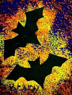 This bat silhouette painting is dramatic inspiration for Halloween. Use a bat s. - This bat silhouette painting is dramatic inspiration for Halloween. Use a bat stencil with bright - Halloween Art Projects, Theme Halloween, Fall Art Projects, Halloween Crafts For Kids, Halloween Bats, Halloween Painting, Halloween Activities For Toddlers, Halloween Costumes, Halloween Artwork
