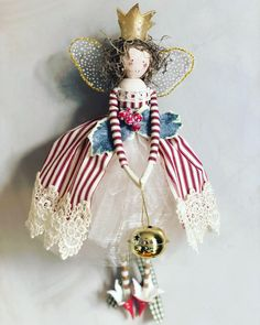 A candy striped delight for a traditional themed tree. Christmas Sewing, Christmas Projects, Handmade Christmas, Holiday Crafts, Christmas Tree Fairy, Christmas Angels, Clothespin Dolls, Fairy Dolls, Xmas Ornaments
