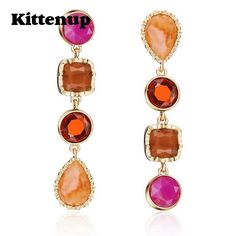 Kittenup Fashion 2017 New Colorful Asymmetric Red Blue Resin Drop Earrings for Women Jewelry Gifts #Affiliate