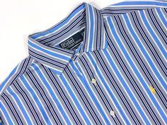 Men's Polo Ralph Lauren Classic Fit XL White Blue Striped L/S Dress Shirt  #PoloRalphLauren
