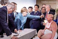 Great Photoshop Battle Raging Over Iconic drumpf Photo. Political Satire, Political Cartoons, Funny Politics, Funny Memes, Hilarious, Jokes, Donald Trump Funny, Funny Caricatures, Funny Pictures