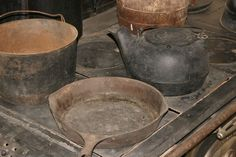 Stripping gunk off and then seasoning cast iron skillets. » The Homestead Survival