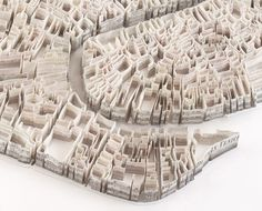 """untitled-mag: """"Paper Cities by Matthew Picton Matthew Picton creates detailed aerial viewed sculpture maps of numerous famous cities. What's interesting to note is that he uses various books, film stills, or news paper articles to represent a. Venice Map, Site Model, Paper Art, Paper Crafts, Merian, Arch Model, Sculpture Art, Paper Sculptures, City Maps"""