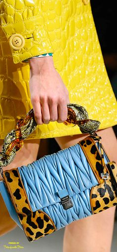Miu Miu Fall 2015 blue and leopard print purse #swoon!