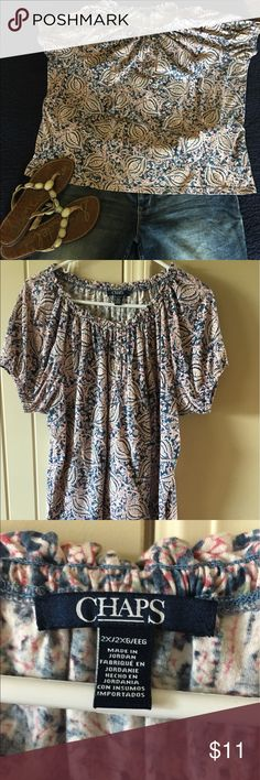 Chaps super soft loose fitting top This top is super soft and cute. Size XXL but with the stretch, it would fit an XL or XXL. Chaps Tops