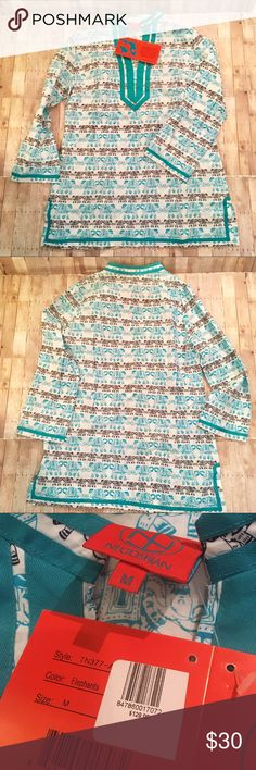 Tracy Negoshian Elephant Tunic. Very cute! New with tags. Elephant bohemian tunic by Tracy Negoshian. Black white and turquoise. Beautiful shirt. Runs a little big but has no stretch. Could wear tight or loose fit.  Women's size small. Tracy Negoshian Tops Tunics