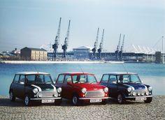 """The Mini Classic """"Final Edition"""" lineup from 2000: The Mini Cooper, Mini Seven and Mini Cooper Sport."""