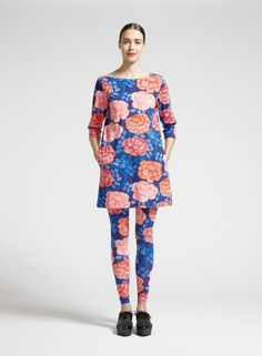 Mussukka tunic (blue, red, coral) |Clothing, Women, Tops & T-shirts | Marimekko