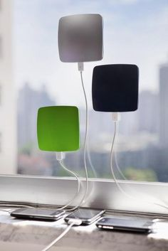 This gadget sticks to your window and absorbs solar energy and transfers ti to your phone battery to charge it. Sticky window solar chargers