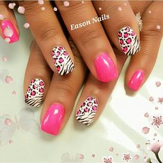 zebra and cheetah nails Pink Zebra Nails, Leopard Print Nails, Zebra Nail Art, Pink Leopard, Violet Pastel, Animal Nail Art, Funky Nails, Fabulous Nails, Creative Nails