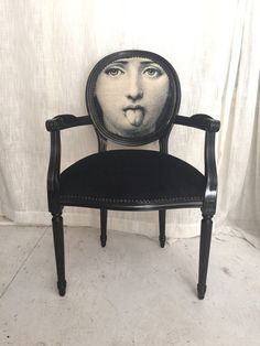 Black Glossy French Louis XVI Armchair upholstered in black velvet and face by Heather Rudd Throne Upholstery