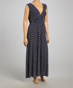 Look at this Star Vixen Navy & White Polka Dot Surplice Maxi Dress - Plus on #zulily today!