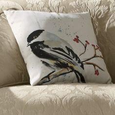 from Country Door>>cute chickadee pillow 18 square. Couch Pillows, Accent Pillows, Throw Pillows, Bird Pillow, Diy Curtains, Perfect Pillow, Pillow Talk, Cozy House, Decorative Pillows