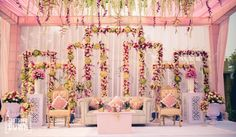 Outdoor Delhi Wedding - Shutterdown - Lakshya Chawla - via WedMeGood Engagement Stage Decoration, Backdrop Decorations, Outdoor Wedding Decorations, Reception Decorations, Flower Decorations, Backdrops, Goa Wedding, Wedding Events, Wedding Ideas