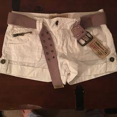 New shorts New white Dollhouse shorts with khaki belt Dollhouse Shorts Cargos