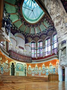 Palau de la Musica Catalana, Barcelona Catalonia, Spain, (Palace of Catalan Music) is a concert hall designed in the Catalan modernista style by the architect Lluís Domènech i Montaner. It was built between 1905 and 1908, and is a UNESCO World Heritage Site.
