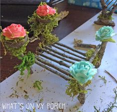 My Porch Prints: How To Make Fairy Furniture Fairy Garden Furniture, Fairy Garden Houses, Fairy Gardening, Organic Gardening, Fairies Garden, Twig Furniture, Flower Fairies, House Furniture, Luxury Furniture