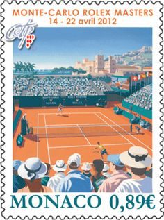 The Monaco Post has issued a stamp Tennis Tips, Sport Tennis, Sports Party Favors, Tennis Posters, Tennis Pictures, Tennis Serve, Vintage Tennis, Tennis Tournaments, Sports Graphics