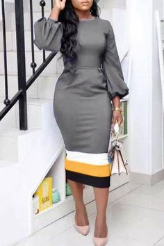 Lovely Trendy Patchwork Grey Twilled Satin Mid Calf Dress We Miss Moda is a leading Women's Clothing Store. Offering the newest Fashion and Trending Styles. Classy Work Outfits, Girly Outfits, Classy Dress, Chic Outfits, Dress Outfits, Fashion Outfits, Chic Dress, African Print Fashion, African Fashion Dresses