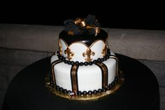 Thanks to Amanda Risk for sending this picture of her wedding cake! #Saints #NOLA #Wedding #WeddingCake #Cake