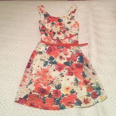 "casual flowered dress with orange belt Orange belt, worn once, casual, straps 2"" jcpenney Dresses"