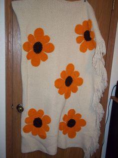 Afghan Blanket White Handmade Throw Crocheted Fringe Orange Flowers 52 x 35  #Handmade