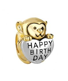 d704ecd1eaf67 Monkey Love Happy Birthday Charm 22K Golden Plated Beads Sale Cheap Jewelry  Fit Pandora Charm Bracelets CS128DRKTOF