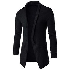 Winter Long Sleeves Lapel Neck Sweater Coat Long-Length Cardigan